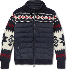 Polo Ralph Lauren Fair Isle Wool-Blend and Quilted Shell Down Jacket with Detachable Liner