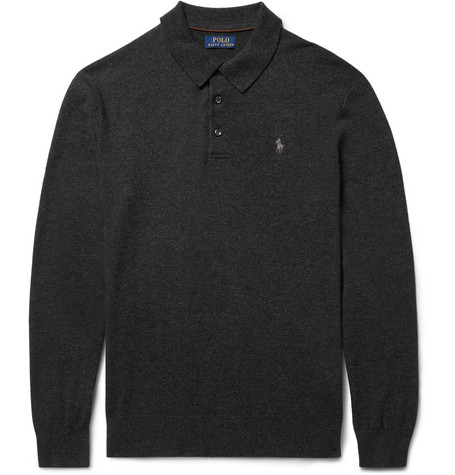 Slim-fit Knitted Cashmere Polo Shirt - Charcoal