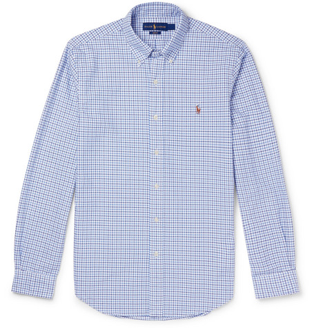 b2970e05235 Polo Ralph Lauren Slim-Fit Button-Down Collar Checked Cotton Oxford Shirt  In Navy