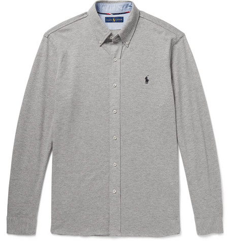 Button-down Collar Cotton-piqué Shirt - Gray