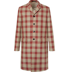 Valentino Appliquéd Checked Virgin Wool Coat