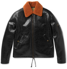 Valentino Shearling-Trimmed Textured-Leather Blouson Jacket