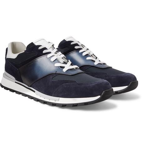Run Track Torino Leather, Suede And Nylon Sneakers Berluti