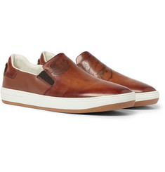 Berluti Outline Leather Slip-On Sneakers
