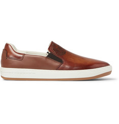 Berluti Outline Polished-Leather Slip-On Sneakers
