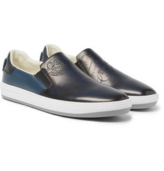 Berluti - Outline Polished-Leather Slip-On Sneakers