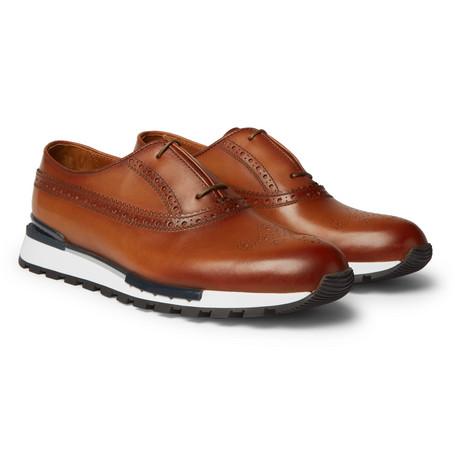 Berluti – Fast Track Leather Brogue Sneakers – Tan