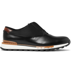 Berluti Fast Track Glazed-Leather and Shell Sneakers