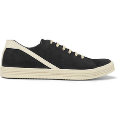 Rick Owens Geothrasher Leather-Trimmed Suede Sneakers