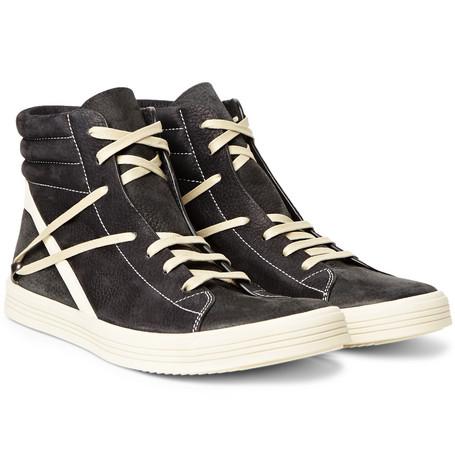 Geothrasher Leather-trimmed Full-grain Nubuck Sneakers - BlackRick Owens cIRZ4