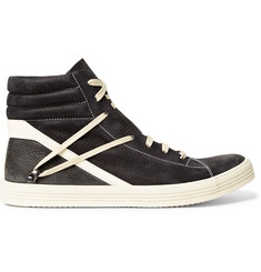 Rick Owens Geothrasher Leather-Trimmed Full-Grain Nubuck Sneakers