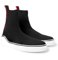 Givenchy Grosgrain-Trimmed Stretch-Knit High-Top Sneakers