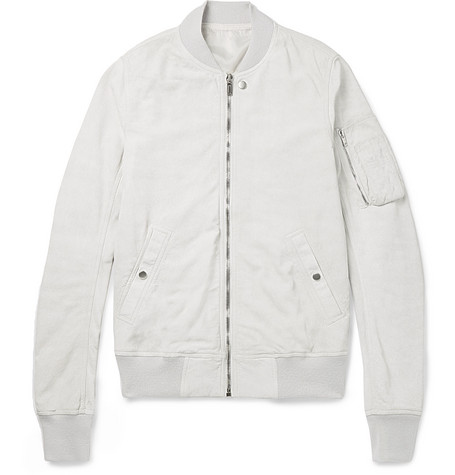 Blistered-suede Bomber Jacket - White