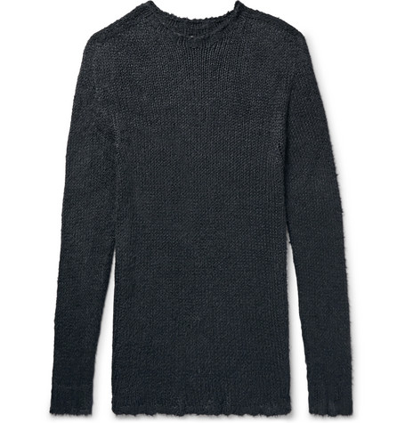 Oversized Raw Edged Silk Sweater by Rick Owens