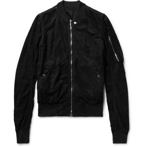 Raglan Slim-fit Blistered-suede Bomber Jacket - Black