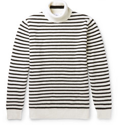 Mr P. Striped Ribbed-Knit Rollneck Sweater