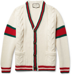 Gucci - Stripe-Trimmed Cable-Knit Wool Cardigan