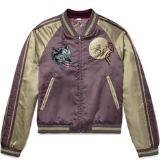 Gucci Reversible Appliquéd Satin-Jacquard Bomber Jacket