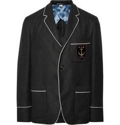 구찌 Gucci Dark-Grey Slim-Fit Embroidered Cashmere Blazer,Dark gray