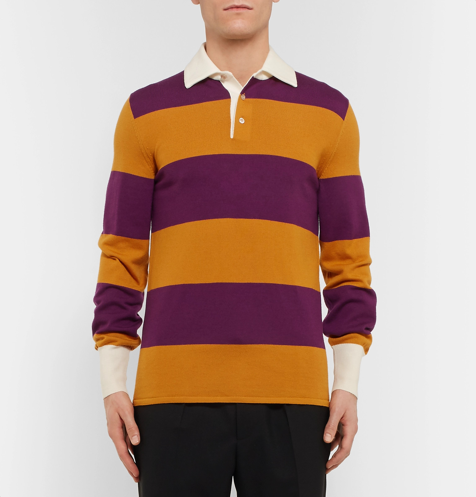 55f9e8787f7 Gucci - Embroidered Striped Wool Rugby Shirt