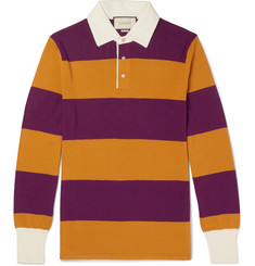 Gucci - Embroidered Striped Wool Polo Shirt
