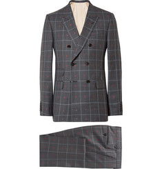 Gucci Grey Slim-Fit Embroidered Prince of Wales Checked Wool and Cotton-Blend Suit