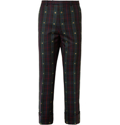 Gucci Cropped Embroidered Checked Wool-Twill Trousers