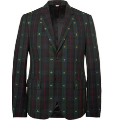Gucci Embroidered Checked Wool-Twill Blazer