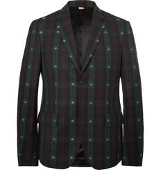 구찌 Gucci Embroidered Checked Wool-Twill Blazer,Green