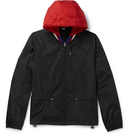 Wool-trimmed Logo-print Shell Hooded Jacket