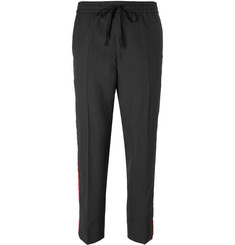 Gucci - Cropped Tapered Velvet-Trimmed Wool Trousers