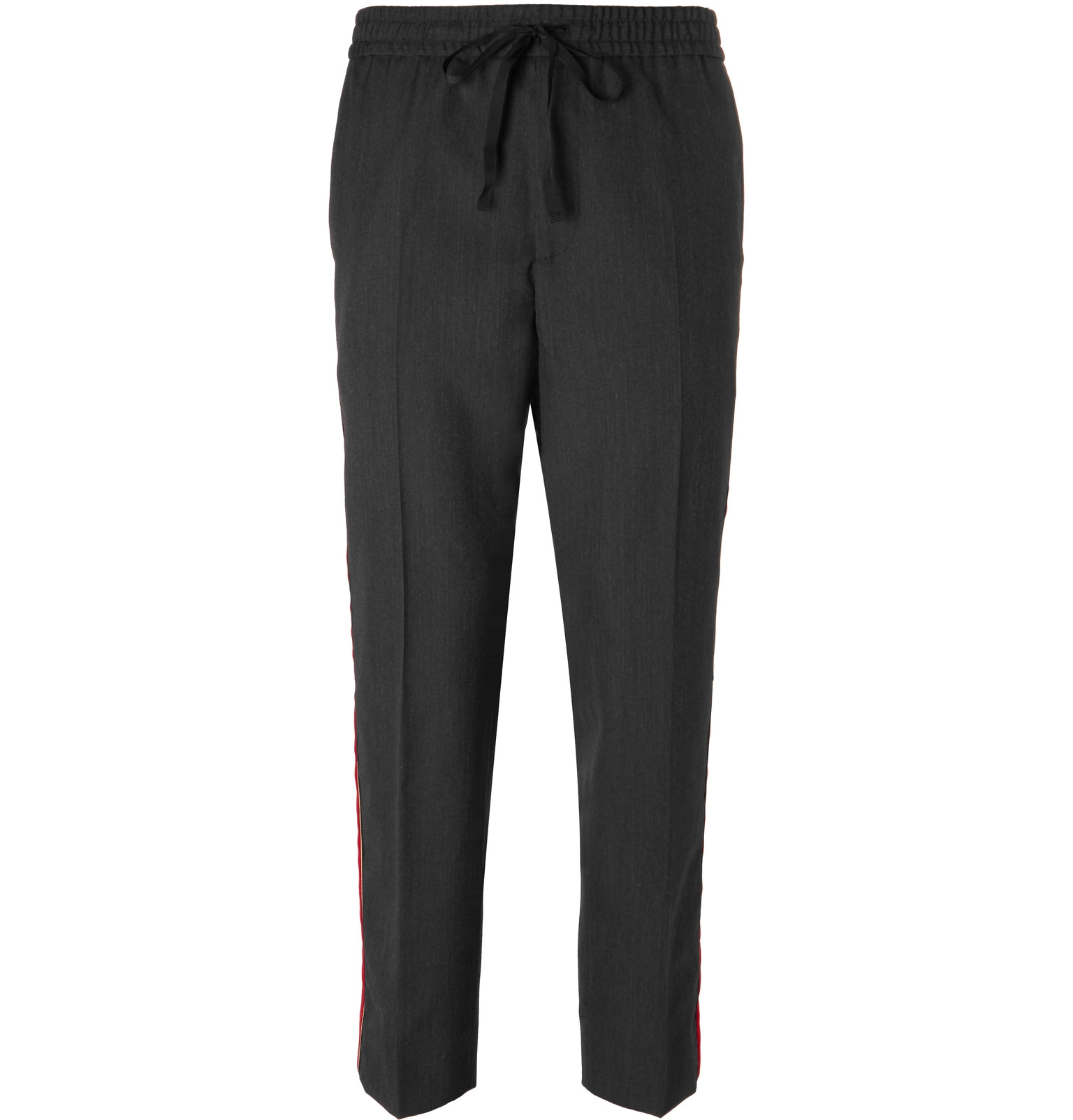 Cropped Tapered Velvet-trimmed Wool Trousers Gucci lKpuU68UP8