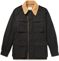 Gucci - Faux Shearling-Lined Logo-Printed Cotton-Canvas Jacket