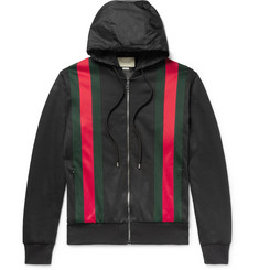 Gucci Webbing-Trimmed Jersey Hooded Jacket