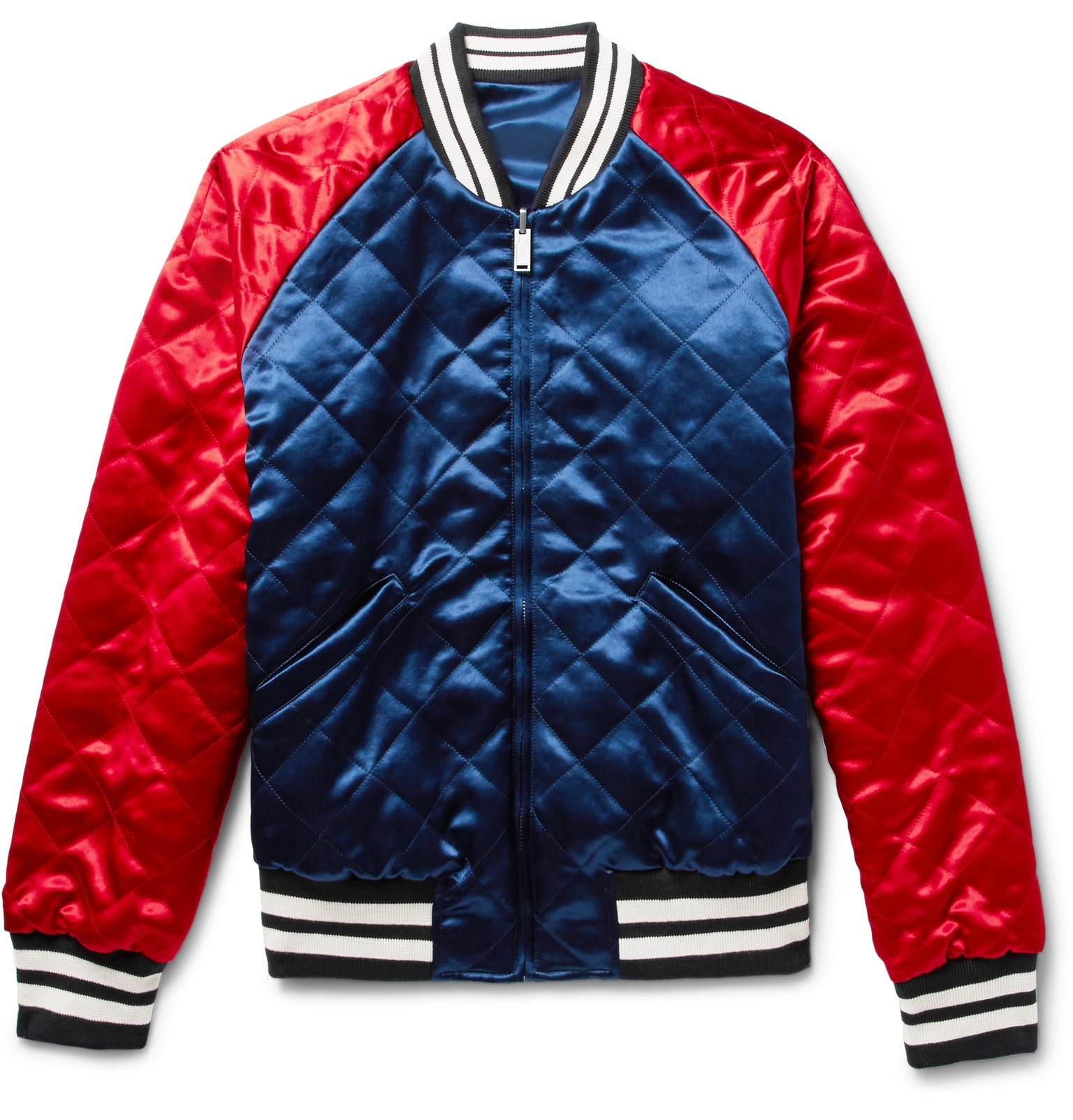 ea10991ad8a Gucci - Reversible Webbing-Trimmed Satin-Twill Bomber Jacket