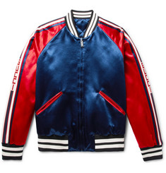 Gucci - Reversible Webbing-Trimmed Satin-Twill Bomber Jacket