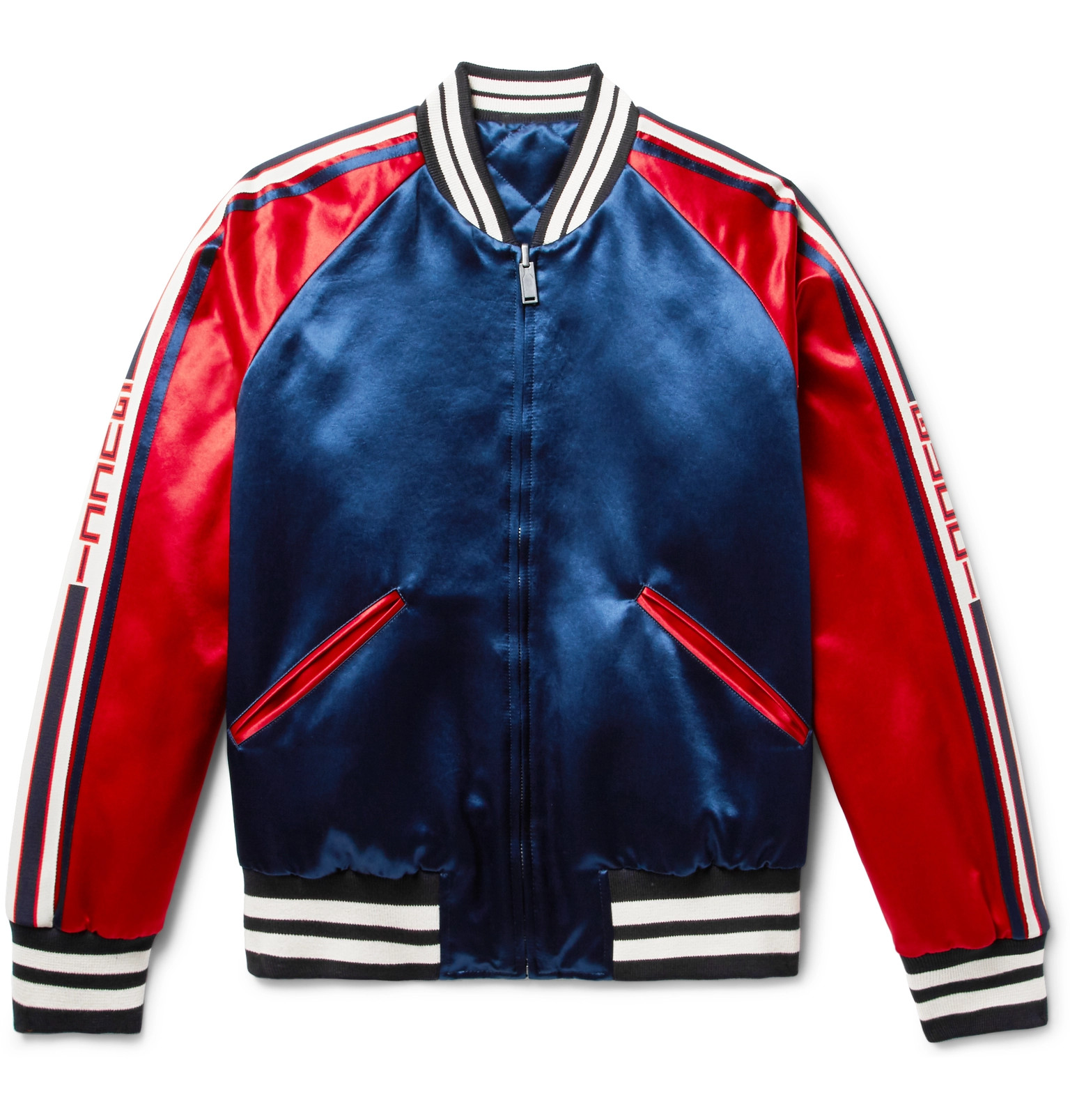 bf4a7fd59f72 Gucci Reversible Webbing-Trimmed Satin-Twill Bomber Jacket
