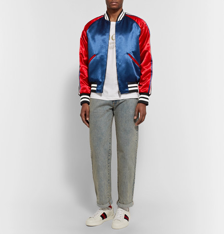 d7e341180 Gucci - Reversible Webbing-Trimmed Satin-Twill Bomber Jacket