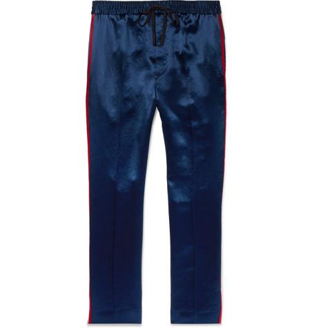 Webbing-trimmed Satin-twill Drawstring Trousers Gucci HX8mrgyiv