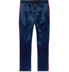 Gucci Tapered Webbing-Trimmed Satin-Twill Trousers