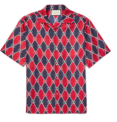 Gucci - Camp-Collar Printed Silk-Twill Shirt 5944563793