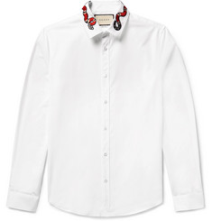 Gucci Duke Snake-Appliquéd Cotton-Poplin Shirt
