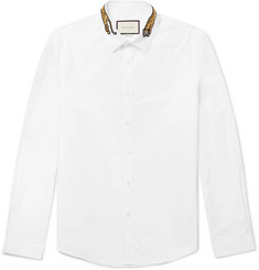 Gucci Slim-Fit Tiger-Appliquéd Cotton-Poplin Shirt