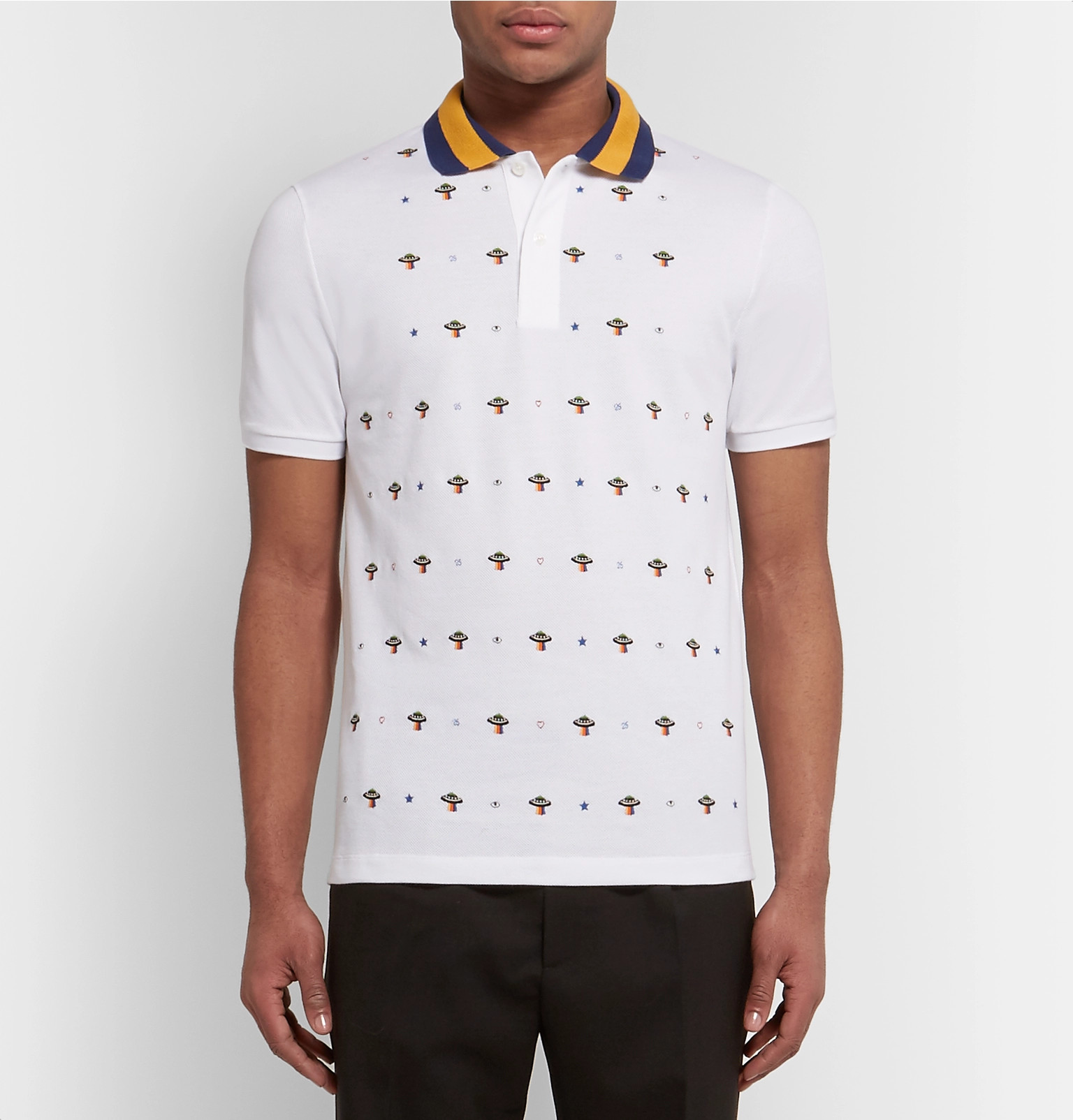 6e7d9ae51 Gucci - Slim-Fit UFO-Embroidered Stretch-Cotton Piqué Polo Shirt