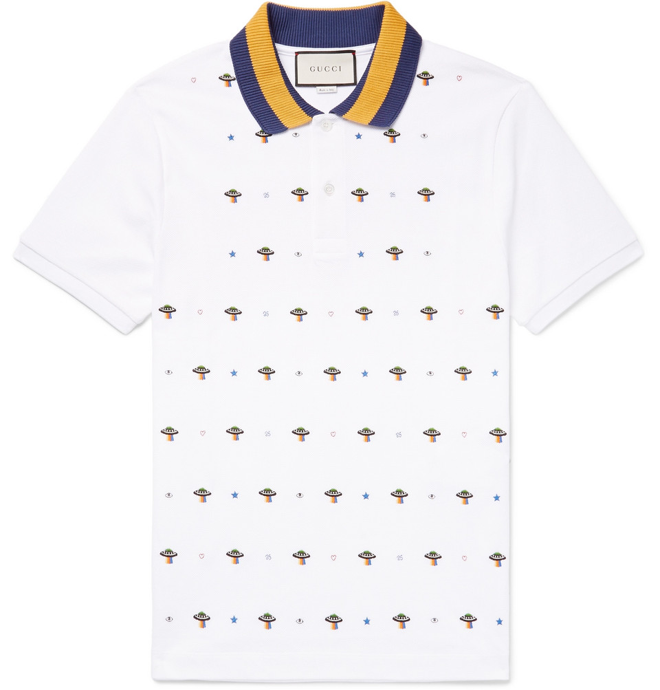 Slim-fit Ufo-embroidered Stretch-cotton Piqué Polo Shirt - White
