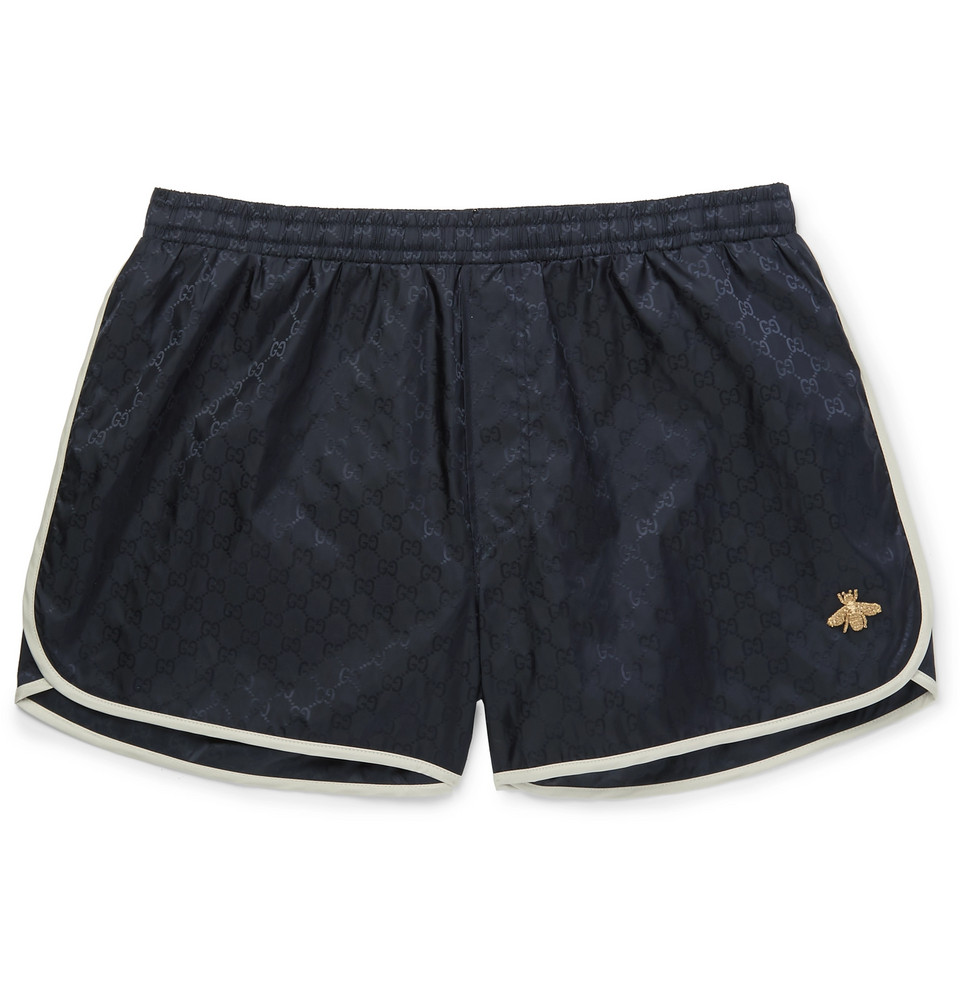 Short-length Embroidered Jacquard Swim Shorts - Navy
