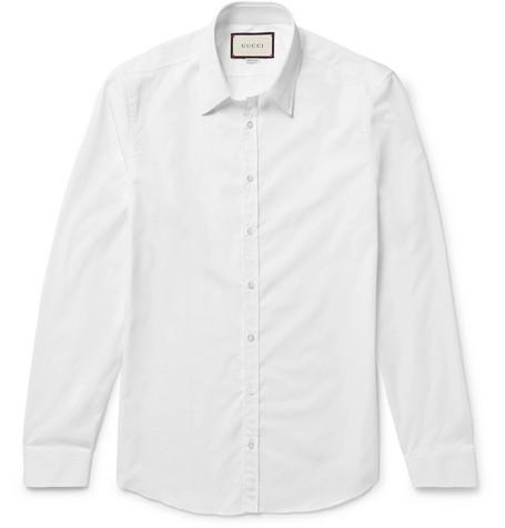 091a99f3e2b Gucci - White Slim-Fit Cotton-Poplin Shirt