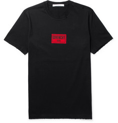 Givenchy - Columbian-Fit Appliquéd Distressed Cotton-Jersey T-Shirt