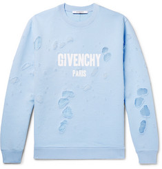 Givenchy Cuban-Fit Distressed Printed  Cotton-Jersey Sweatshirt