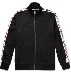 Givenchy Rubber-Appliquéd Satin-Jersey Zip-Up Track Jacket